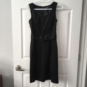 H&M black belted shift dress